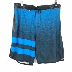 Hurley Sz 32 Board Shorts Swim Trunks Blue Black